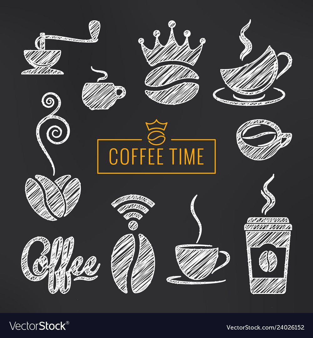 Coffee sketch set coffee cups and beans vector image on