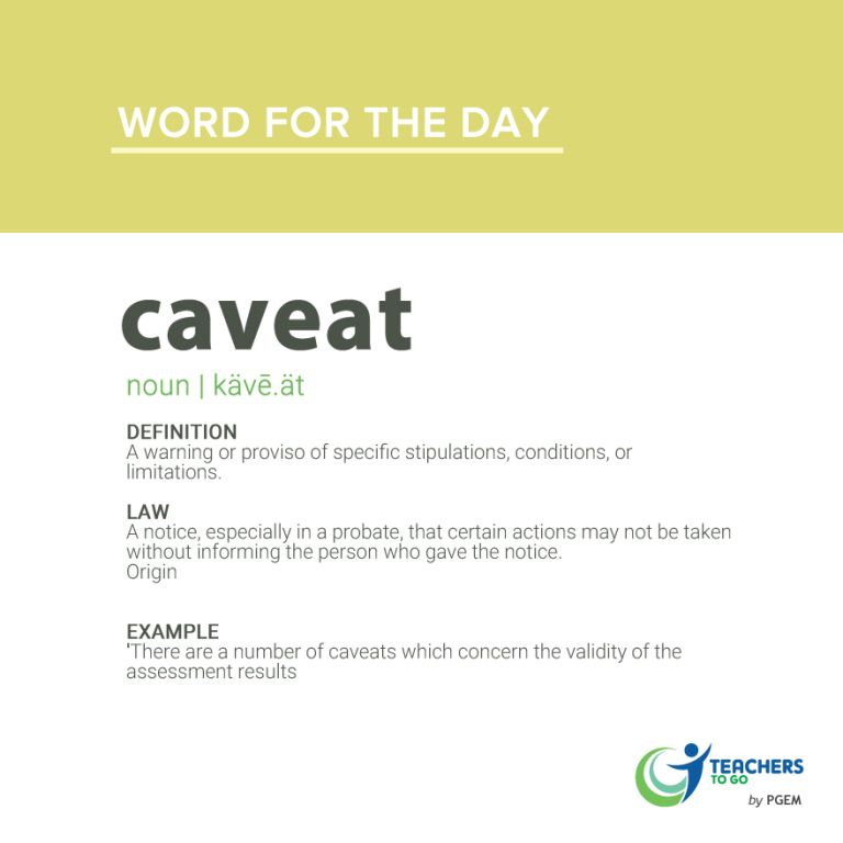 Word of the Day: Caveat | Word of the day, Words, Day
