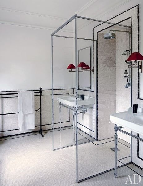 open glass shower in the middle of the bathroom   genius