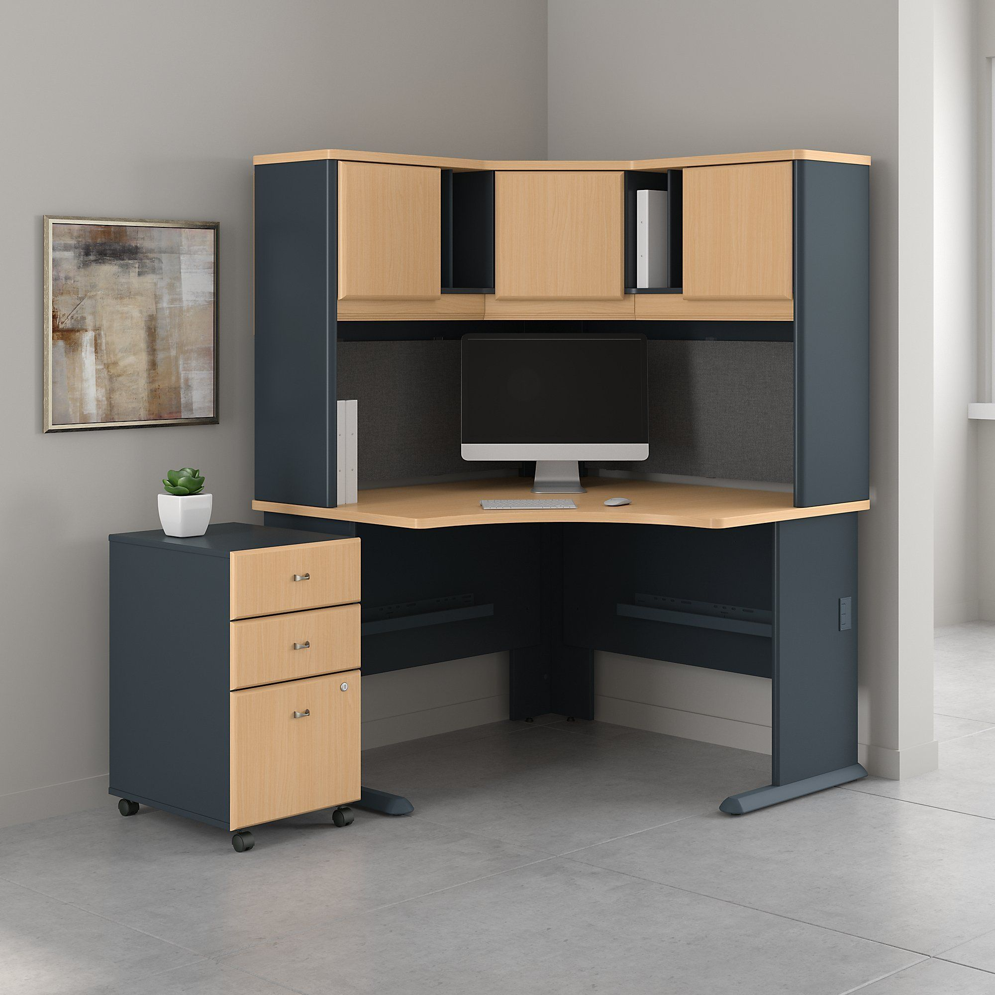 series corner desk. Bush Business Furniture SRA040BESU Series A 48W Corner Desk With Hutch And Mobile File Cabinet Beech D