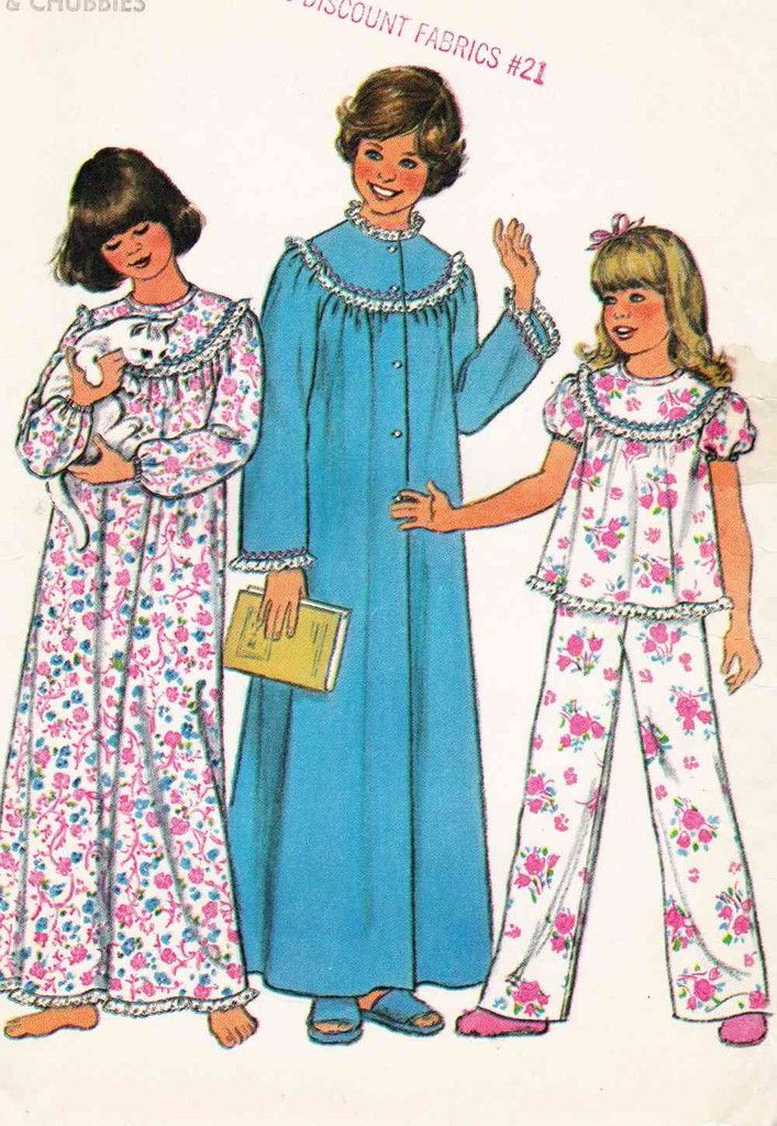 70s Girls Nightgown Pajamas Robe Sleepwear Sewing Pattern Sz Large ...