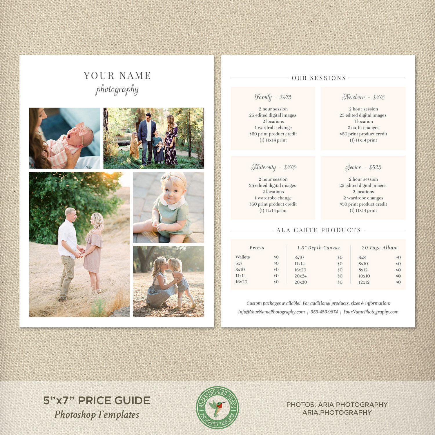 5x7 Photography Price Sheet Template, Photography Price