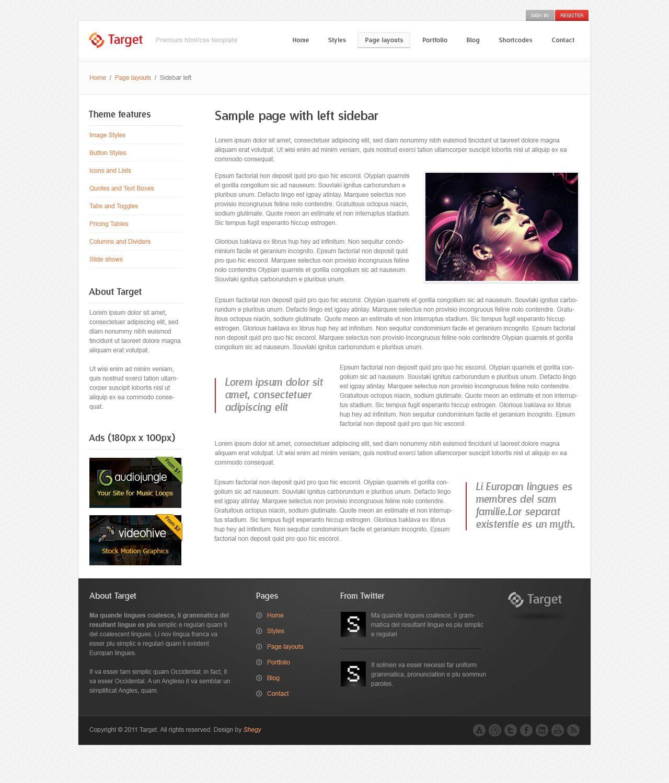 Target Psd Template Psd Templates Templates Web Design