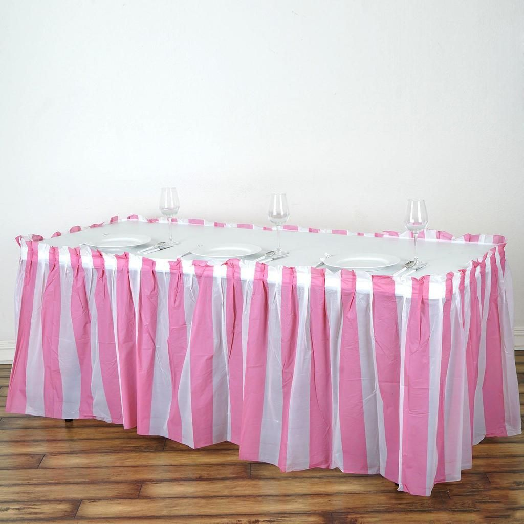 14ft 10 Mil Thick Stripe Plastic Table Skirts Disposable Table