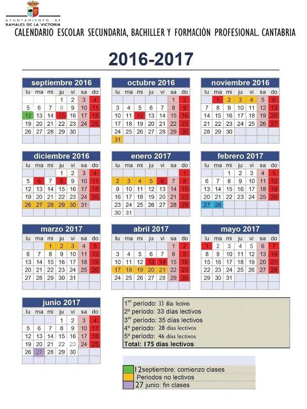 Calendario Escolar 18 19 Cantabria.Calendario Escolar De Educacion Secundaria Bachiller Y