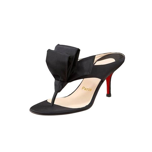 0592c488f44 Christian Louboutin Red Bottom Tulip Thong Satin Sandals Black ...