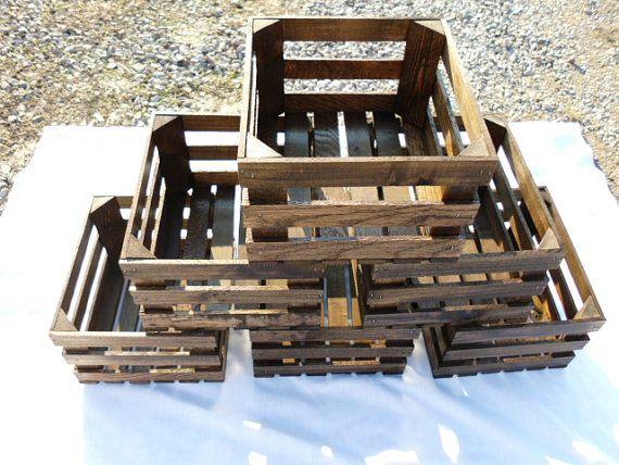 Six Reclaimed Wooden Storage Crates With Dark Walnut Finish, Wedding Decor, Home Decor, Kitchen Decor