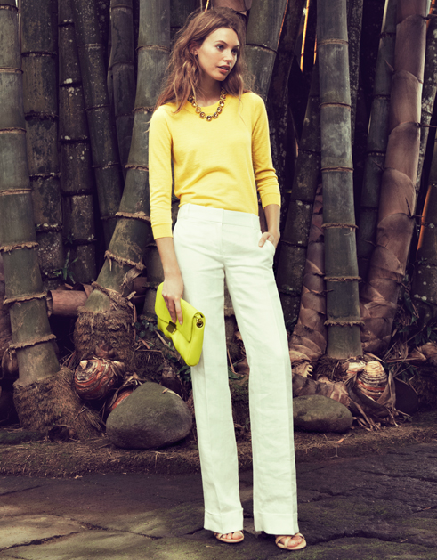 #summer style w/ J. Crew Tippi Sweater   linen trousers  Spring outfit #fashion #Springoutfit  #nice   www.2dayslook.com
