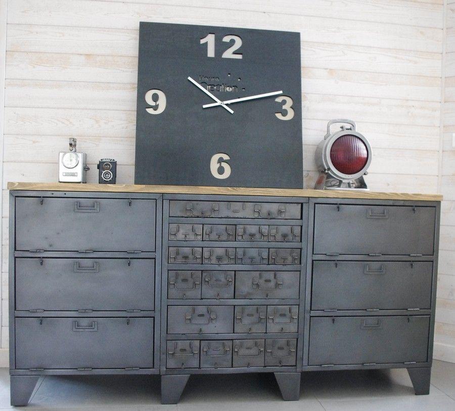 Buffet industriel avec anciens casiers d atelier cr ation restauration de meuble industriel - Restauration meuble industriel ...