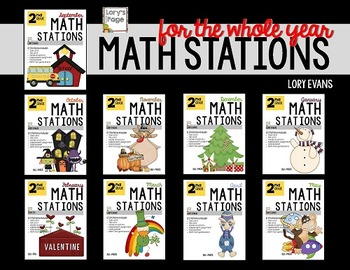 2nd Grade Math Stations for the WHOLE school year (Sept-May). Over 1,260 pages of enjoyable, academic engagement for your kiddos.Buy the bundle and get a month FREE!!This file contains 140+ pages of Debbie Diller style math stations.  12 stations created using the common core standards.