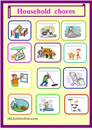 Household Chores-Cleaning Supplies 3 Photo Worksheet Set-ESL Fun Games