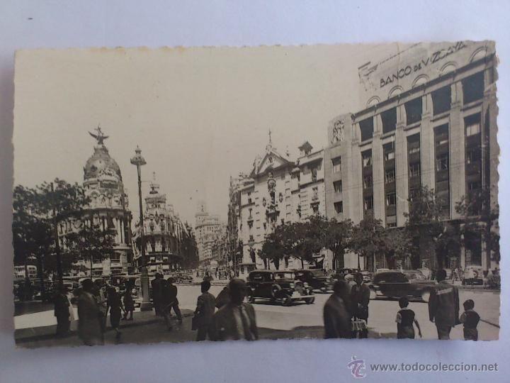 POSTAL MADRID - CALLE DE ALCALA Y GRAN VIA (Postales - España - Comunidad de Madrid Antigua (hasta 1939) - Madrid Capital)