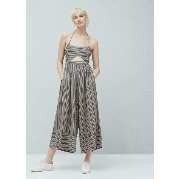 d06fdc08901b MANGO MANGO Striped Cotton Jumpsuit ( 70) ❤ liked on Polyvore featuring  jumpsuits