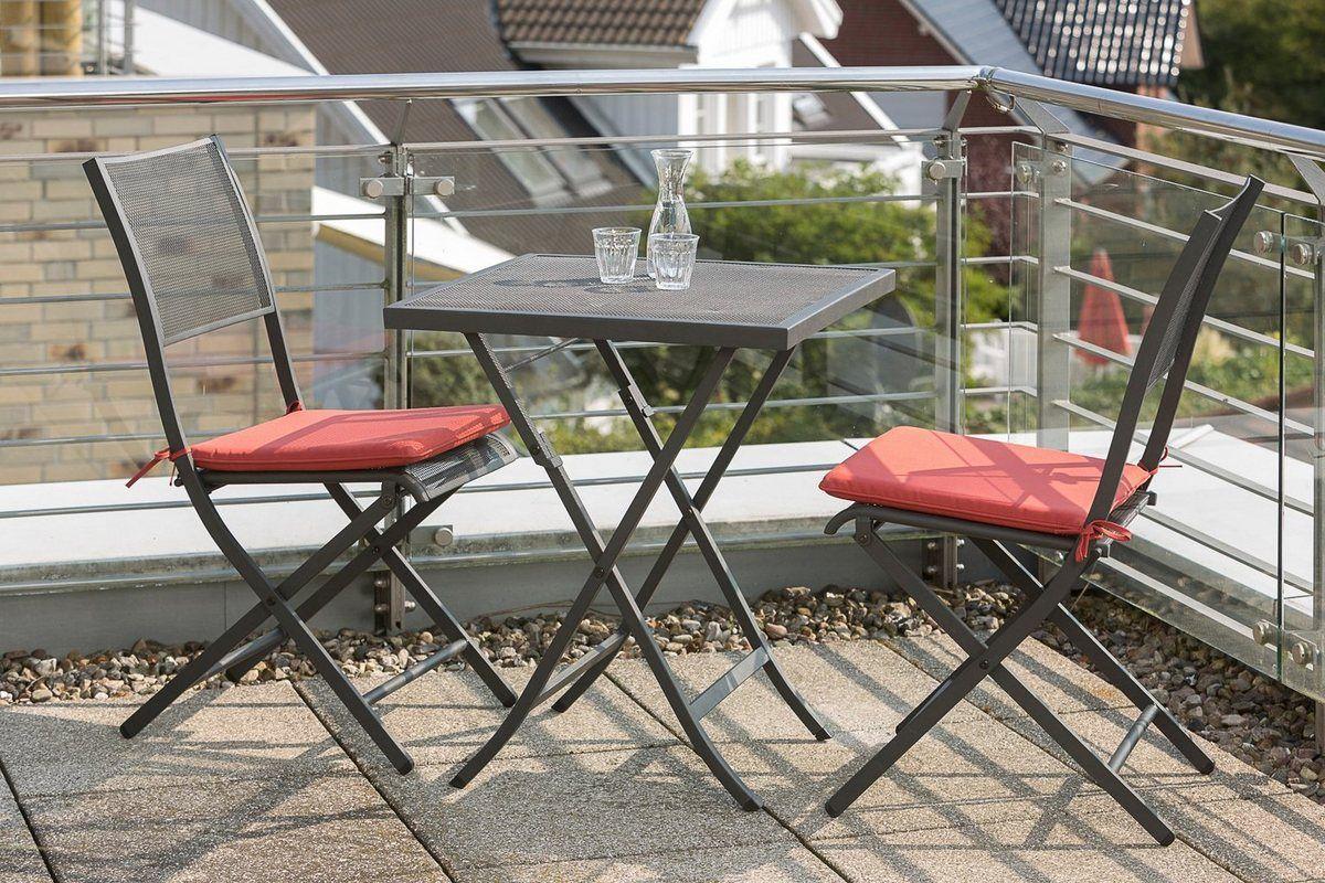 Gartenmobelset Samos 3tlg 2 Sessel Tisch Klappbar Stahl