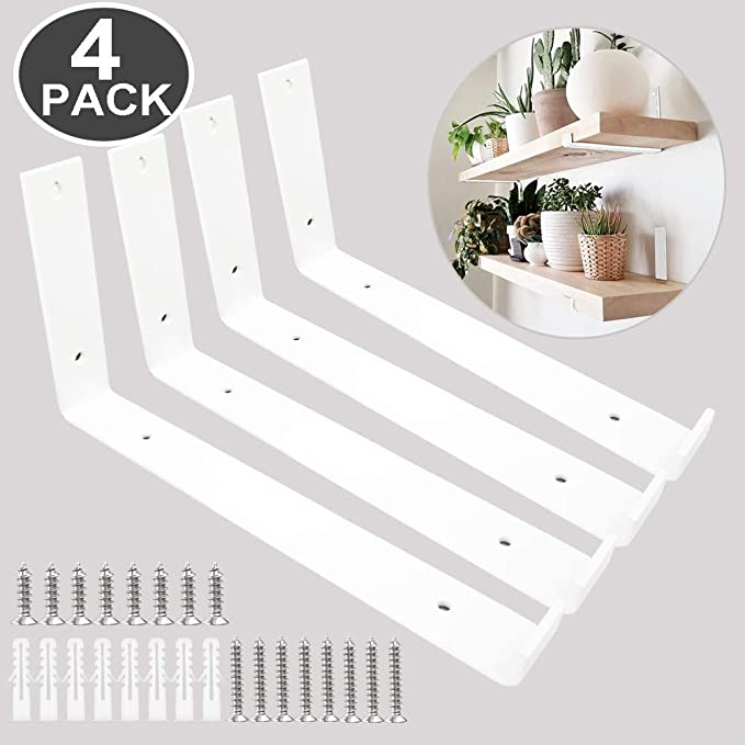 Amazon Com Shelf Brackets 12 Inch 4pcs Heavy Duty White Wall Bracket With Lip For Floating Shelves In 2020 Metal Shelf Brackets Metal Shelves Wall Shelves Living Room