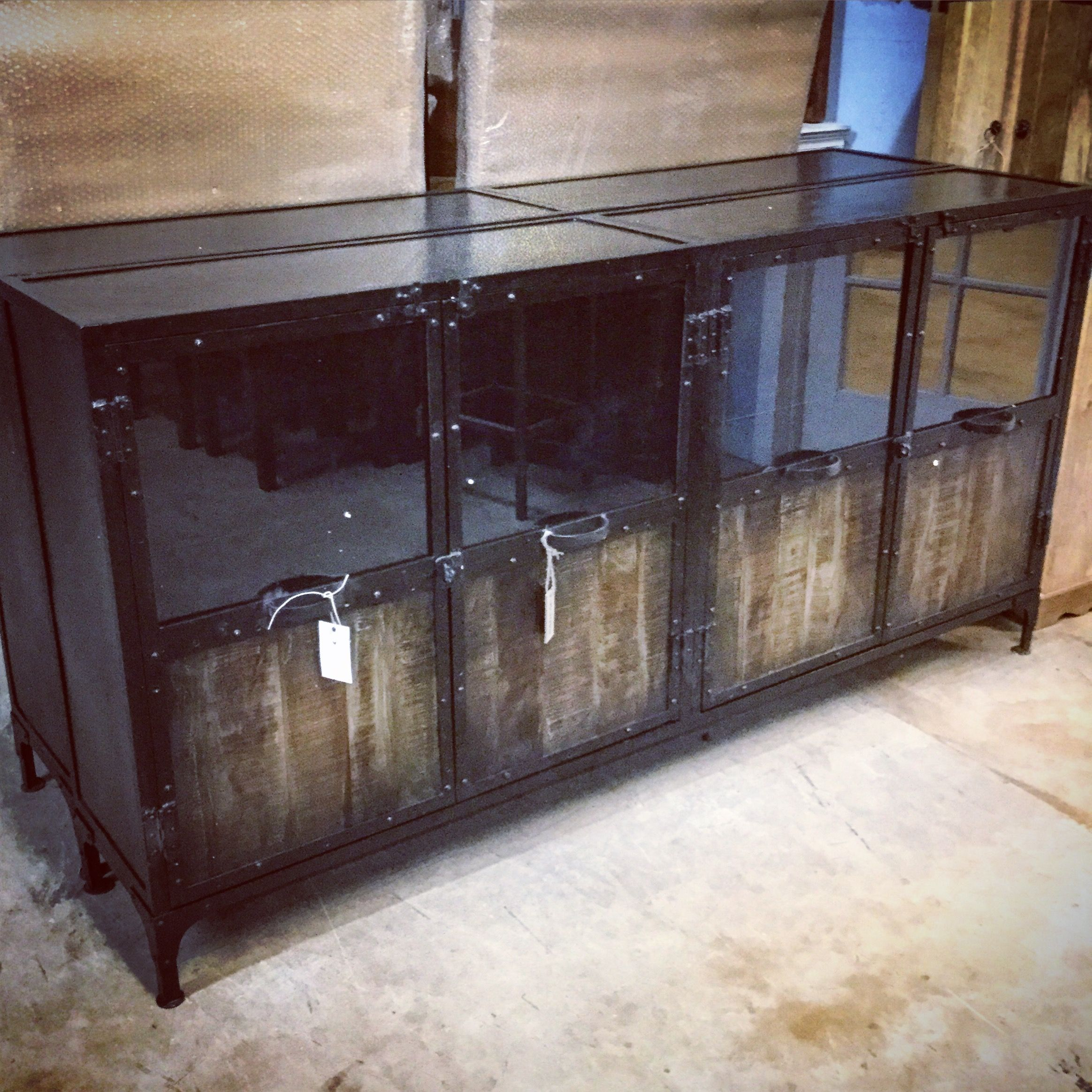 buffet with glass doors. Metal And Wood Buffet With Glass Doors E