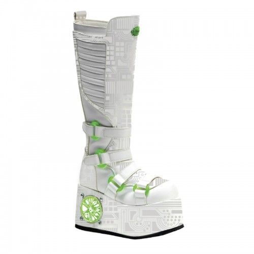 Demonia Techno 856UV Cyber Platform Knee Boot with White UV Reactive Design and Lime Light