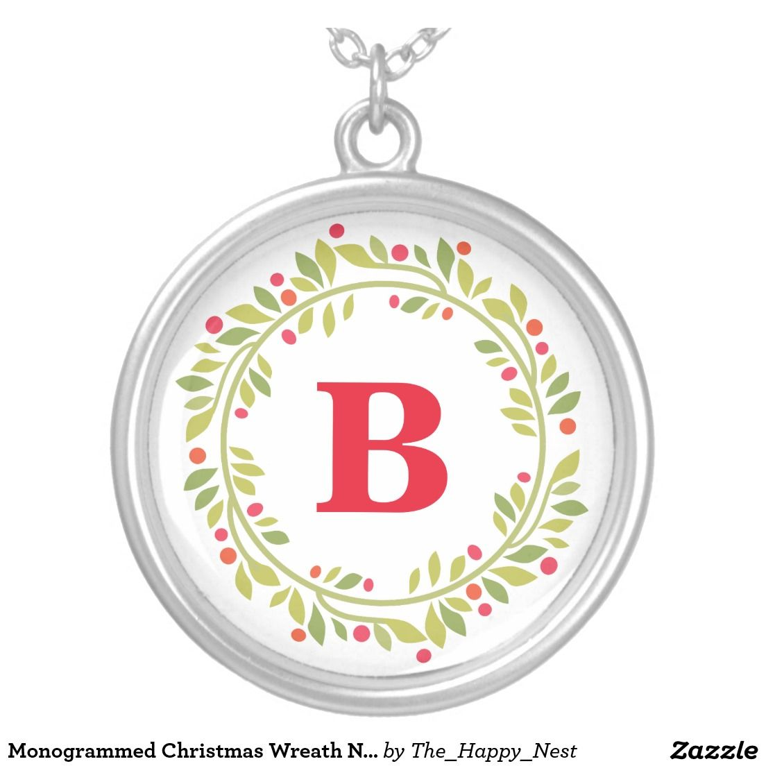 Monogrammed Christmas Wreath Necklace