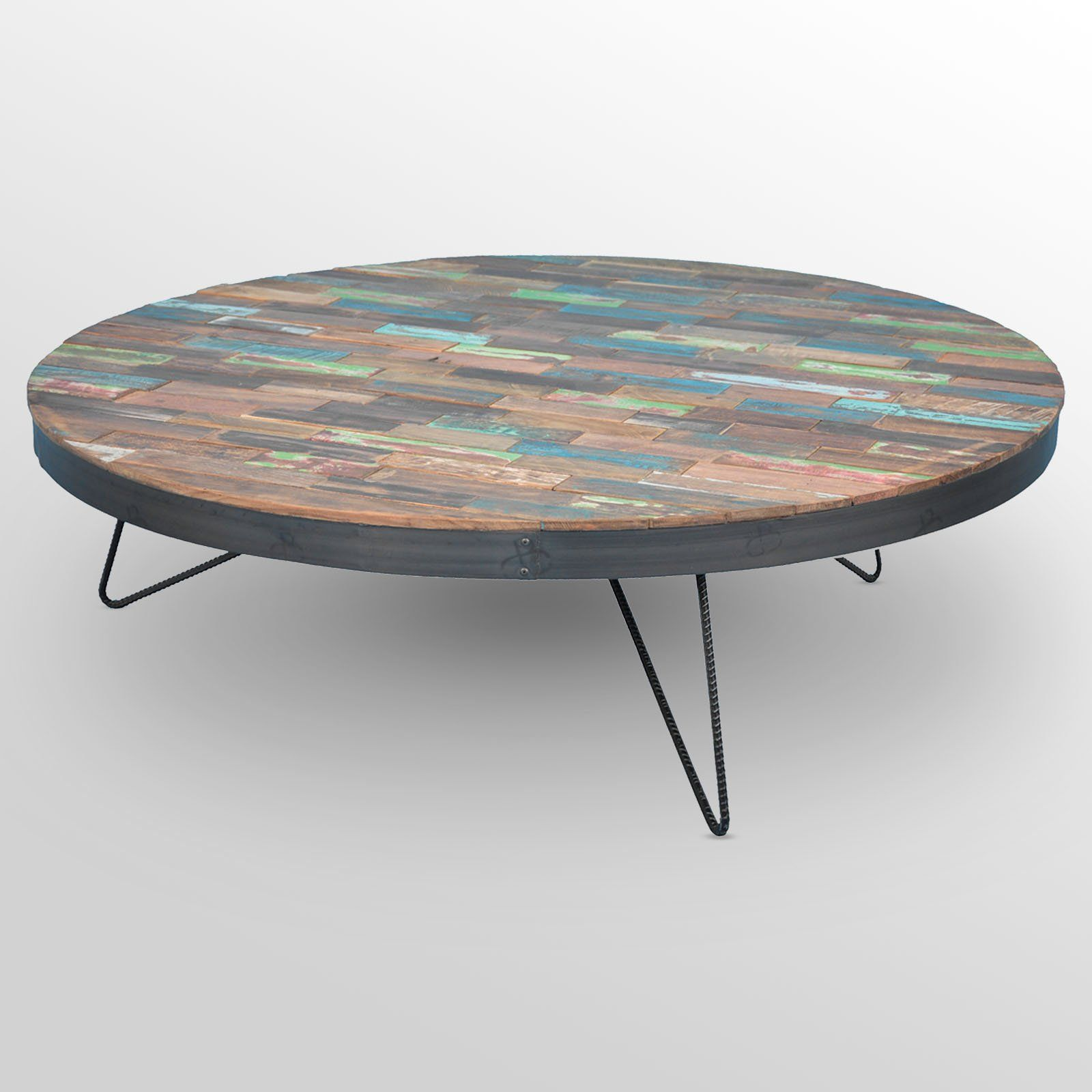 Teak Unique Coffee Table: Reclaimed Teak And Iron Coffee Table