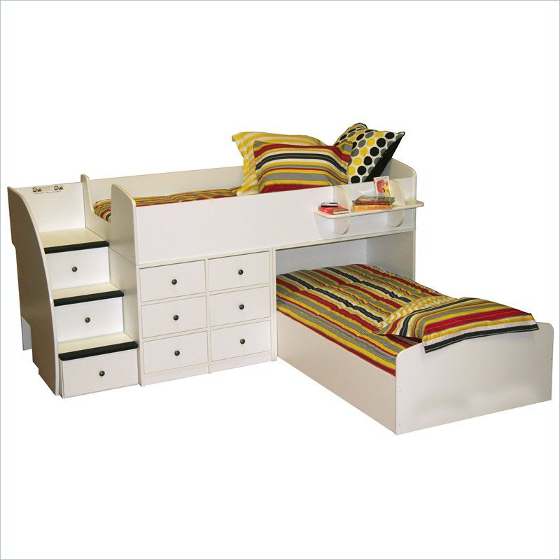 Berg Furniture Sierra L Shaped Twin Over Twin Captains Bunk Bed