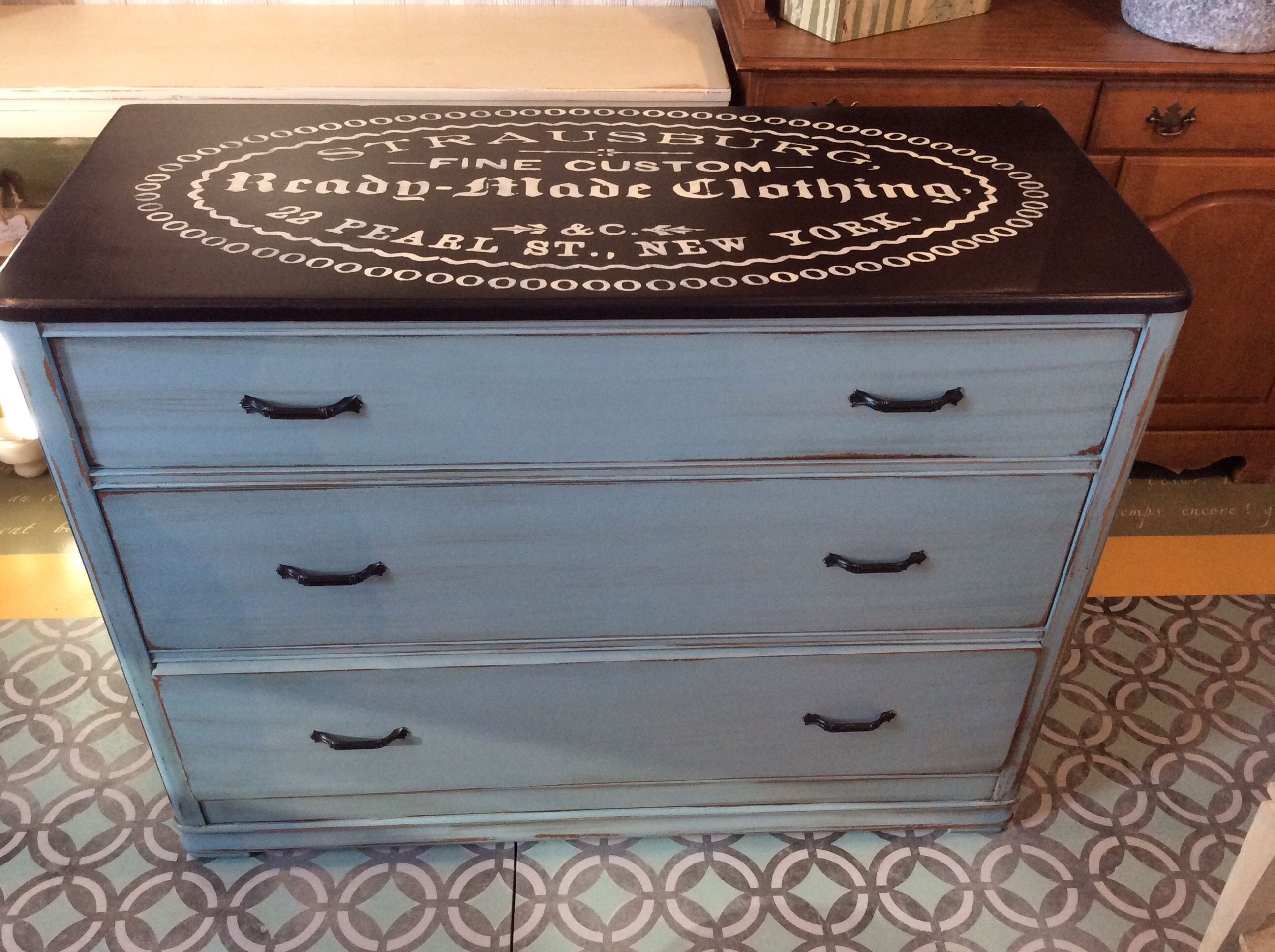 General Finishes Milk Paint Persian Blue & Dark Chocolate with Van