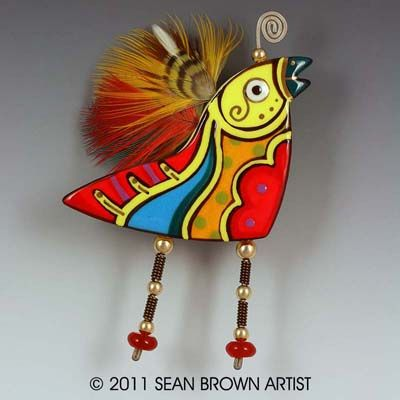 Sean Brown ceramic and mixed media bird brooch with natural feathers