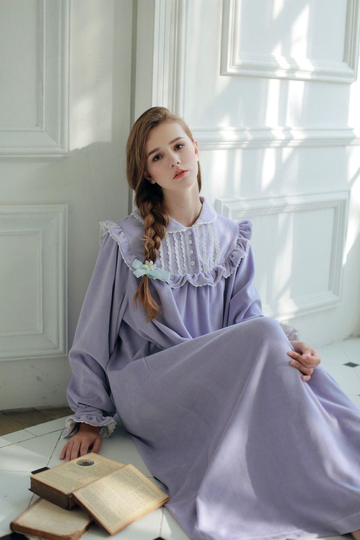 85061ca4 Women Sleepwear Winter Warm Gown Royal Princess Dress Nightgown Women's  Velvet Long Nightdress Vintage Court Style Homeware