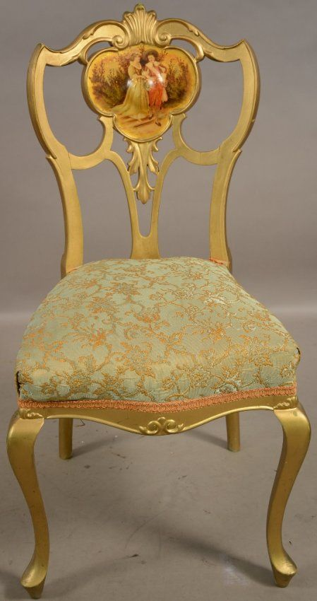 Etonnant French Louis XVII Style Giltwood Parlor Chair With Hand Painted Scene.  C.1900. : Lot 201B