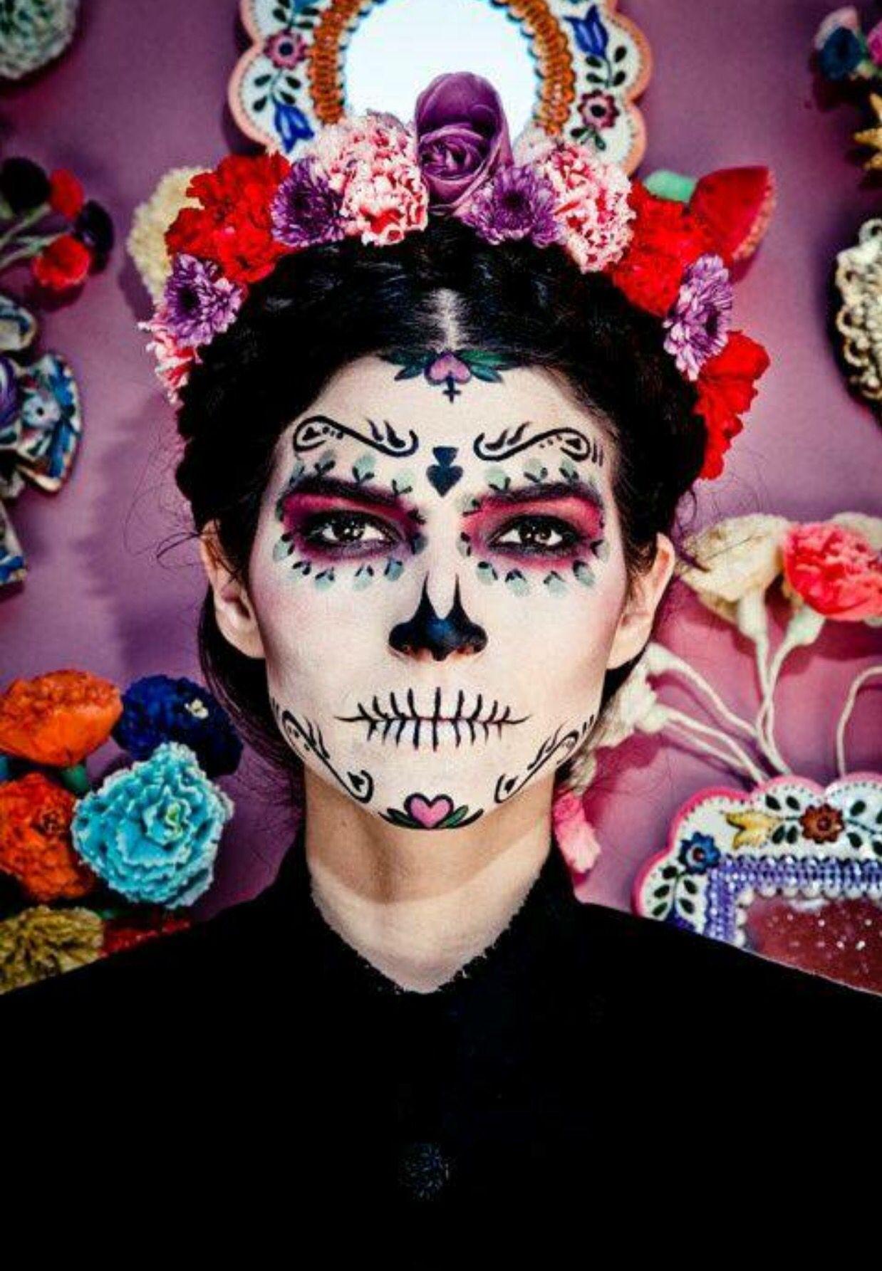 Frida Kahlo Day Of The Dead Make Up Halloween Looks Dead Makeup Halloween Makeup