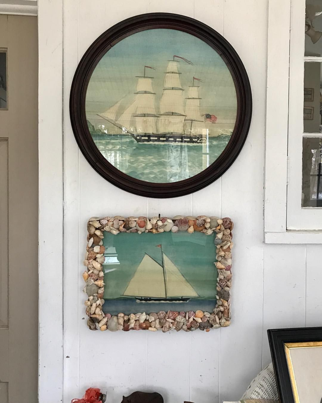 Unusual frames for these two new ship pieces by Mary