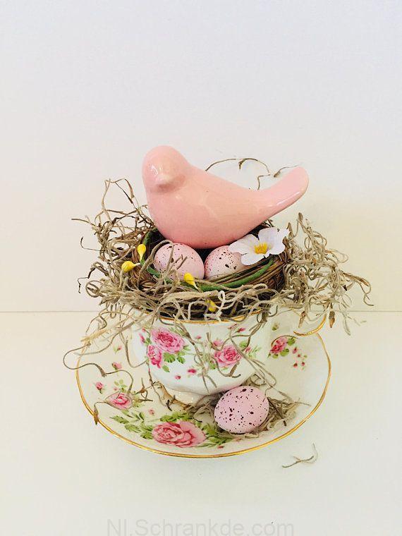 Roze Vogel Nest Decor Bird Nest Eieren Shabby Cottage
