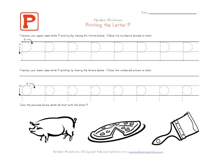 Alphabet Worksheets for Preschoolers – Letter P Worksheet