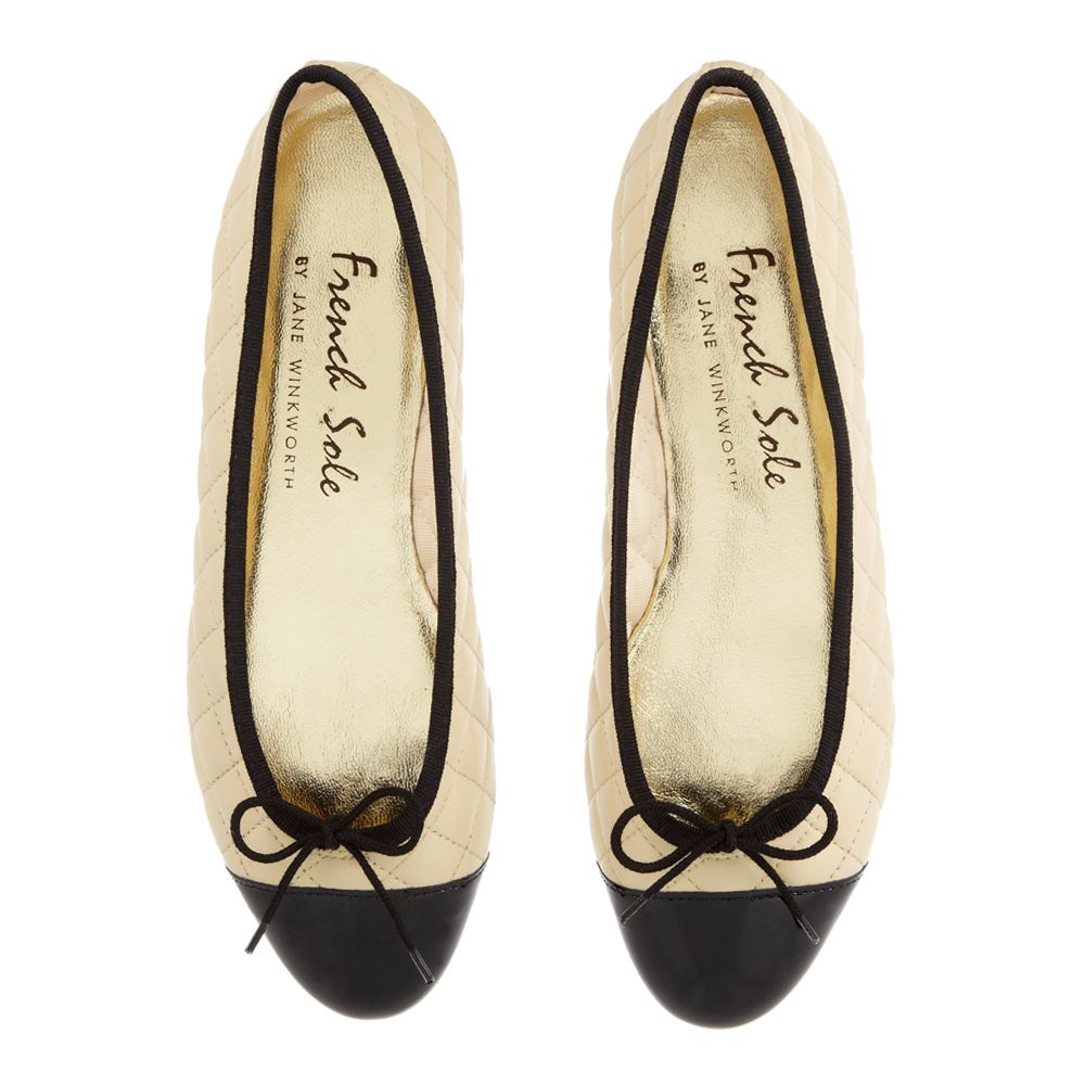 SM325 - Beige Quilted Leather - Ballerina Shoes | French Sole ... : french sole quilted ballet flats - Adamdwight.com
