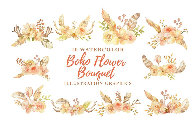 10 Watercolor Boho Flower Bouquet Illustration By Ianmikraz On