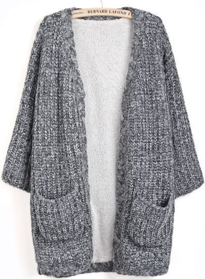 Grey Long Sleeve Pockets Knit Cardigan | Cold Days | Pinterest ...