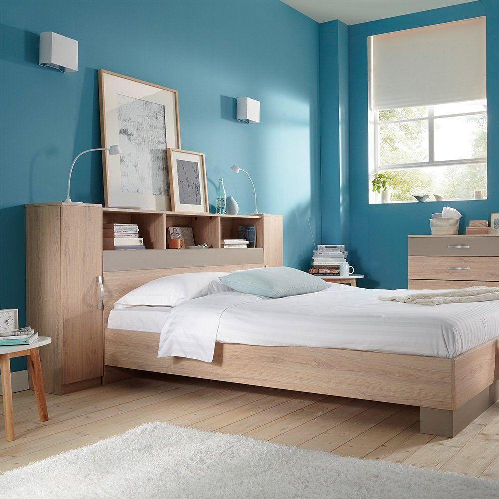 Une tête de lit avec placards et étagères, Conforama ...