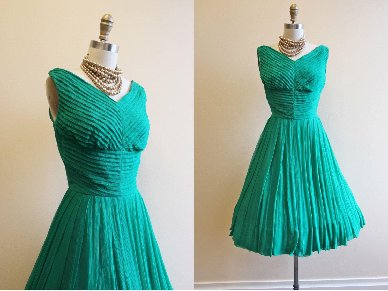 50s Dress - Vintage 1950s Dress - Emerald Green Silk Chiffon Prom ...