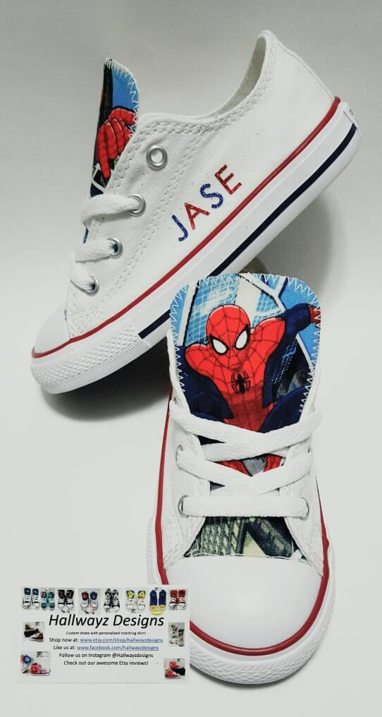 2817b136a89758 Spiderman converse shoes custom white sneakers by HallwayzDesigns