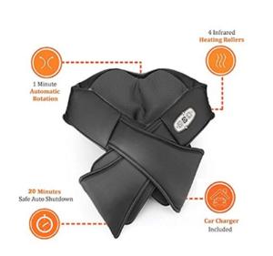 Brookstone Shiatsu Neck and Back Shoulder Massager Heat Kneading Pain Black