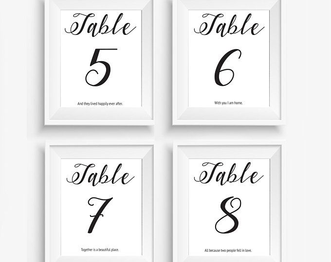 4x6 wedding table numbers with quotes pdf print your own