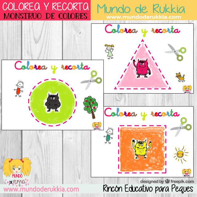 Monstruo de Colores - Colorea y Recorta Figuras Geométricas | Blog ...