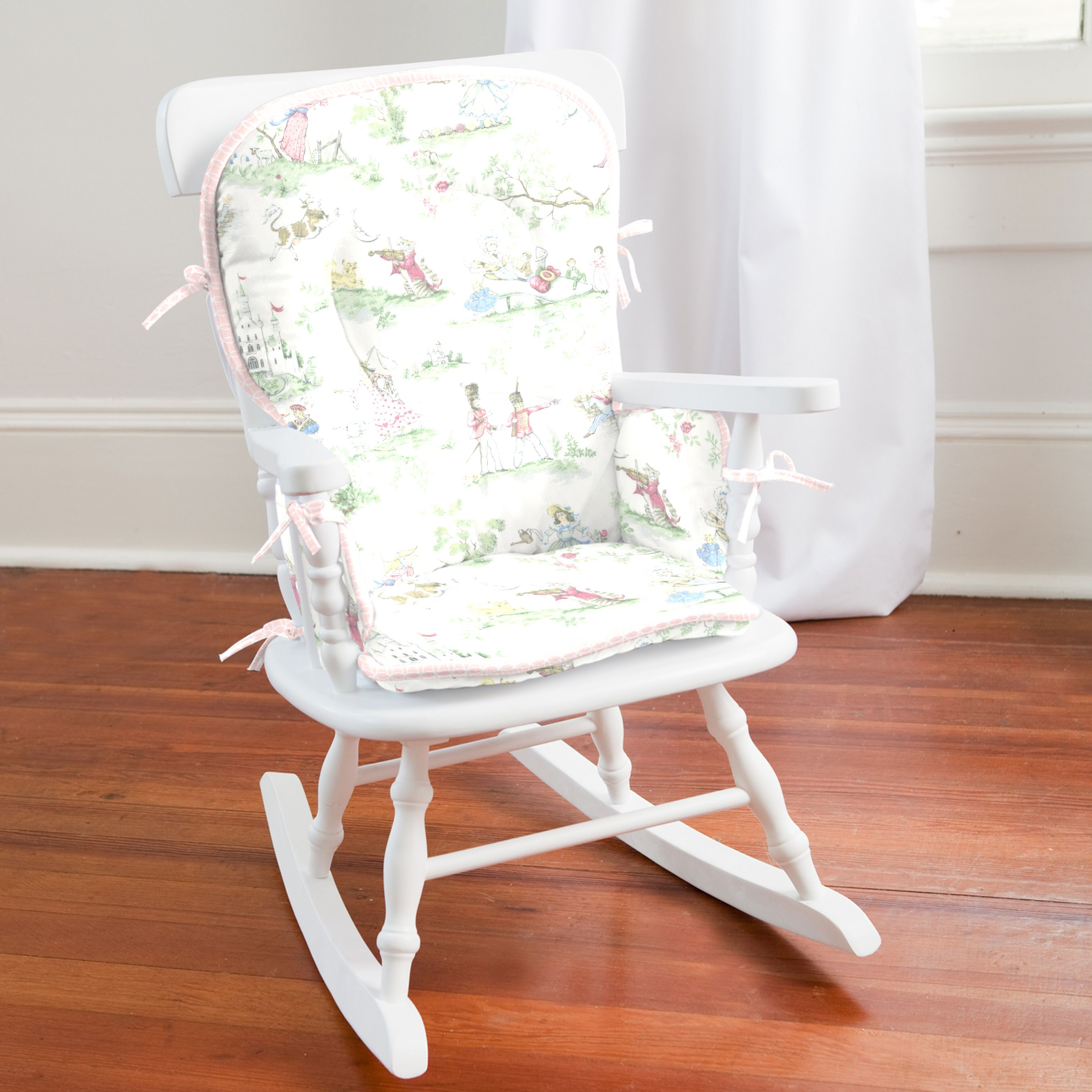 Pink Over the Moon Toile High Chair Pad Rocking chair