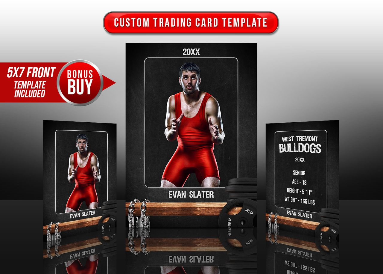 Sports Trading Cards And 5x7 Template Wrestling Chalk Trading Cards Trading Card Template Cards