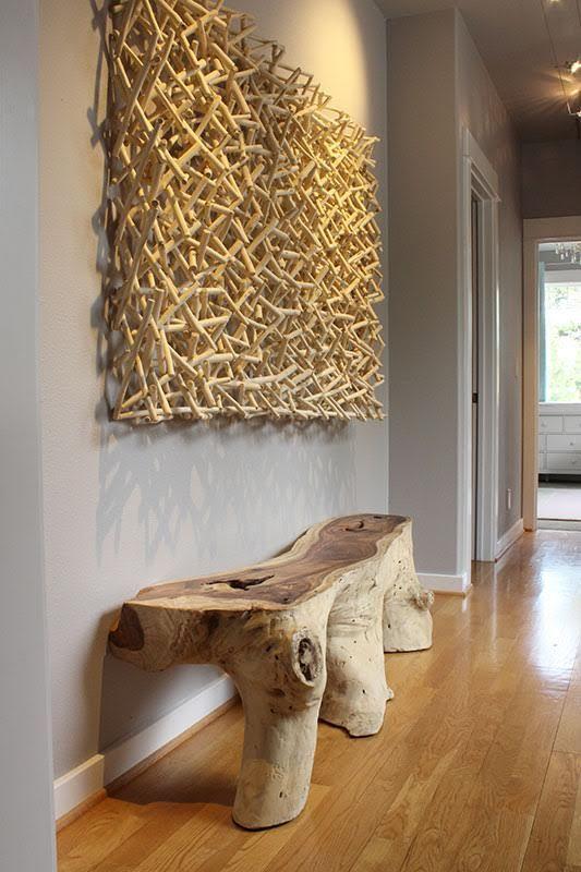The Perfect Pair An Origins Console And Phillips Collection S Stick Wall Art Zimmereinrichtung Holzverbindungen Haus Dekor