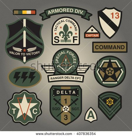 Set Of Military and Army Patches and Badges 3 | Graphics