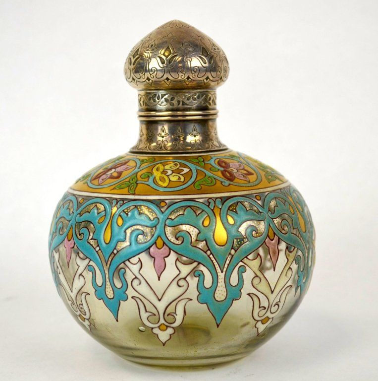 French Emberton Enameled Glass and Silver Perfume Bottle