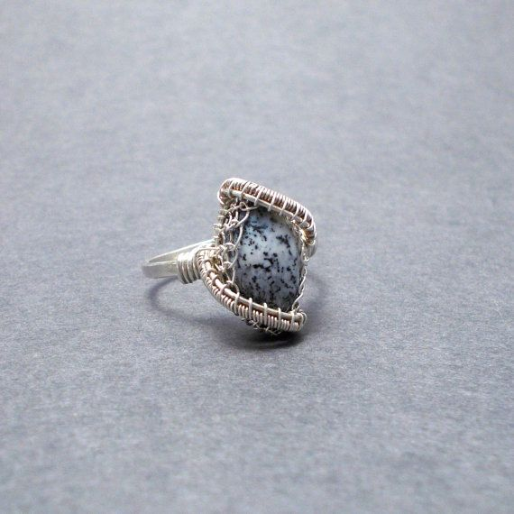 Merlinite opal ring, opal silver ring, wire wrapped black and ...