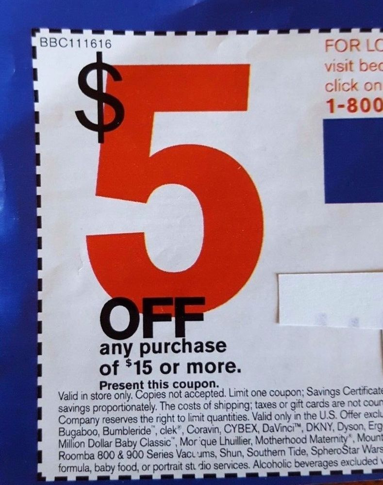 Bed Bath Beyond Coupon 5 Off Save 5 Any Purchase 15 Or More Deal