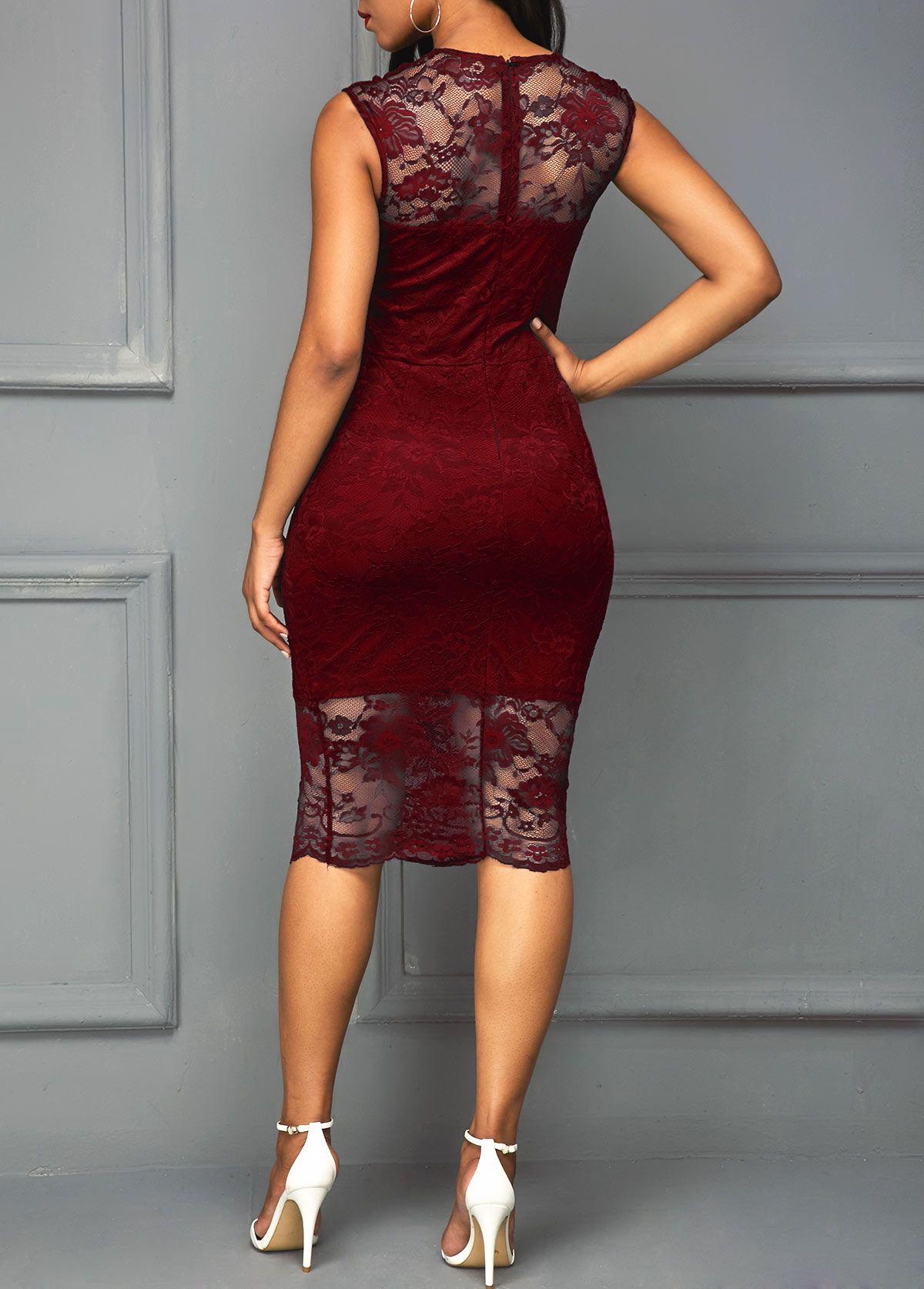 Scalloped Hem Round Neck Wine Red Sleeveless Dress Rosewe Com Usd 36 63 Classy Dress Outfits Midi Dress Sleeveless Lace Dress Styles