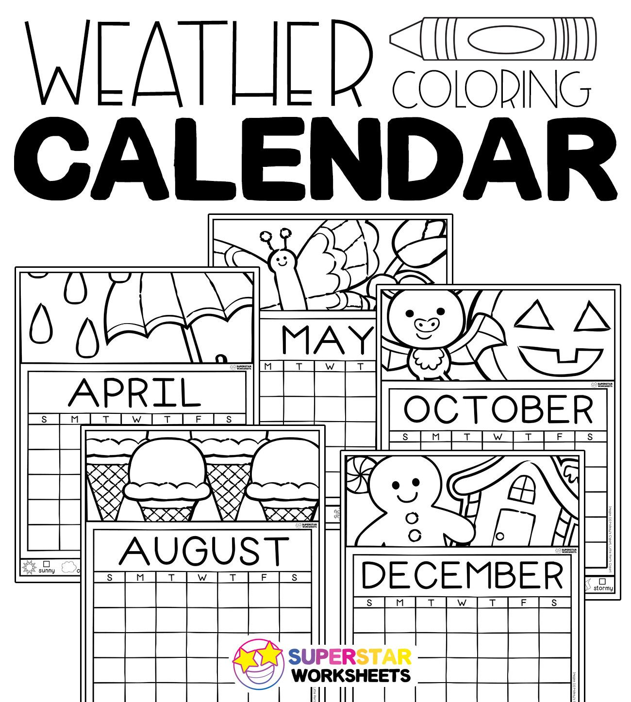 Print this free ColorIn Weather Tracking Calendar set